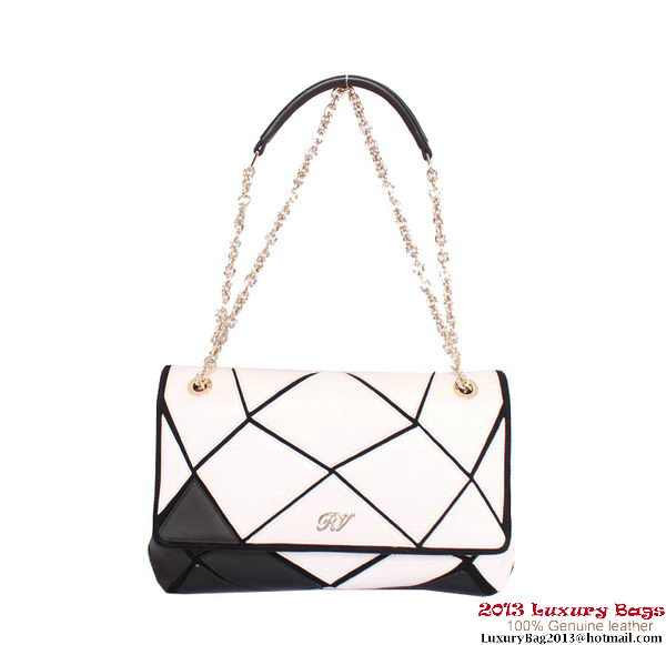 ROGER VIVIER Prismick Medium Calskin Leather Bag RV3608 White&Black