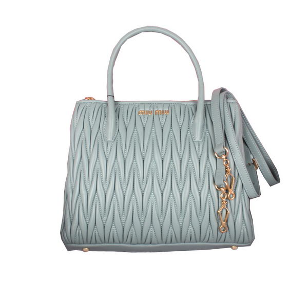 miu miu Sheepskin Leather Three-pocket Bag BN1212 Light Blue