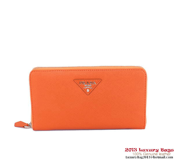 Prada Saffiano Calf Leather Zippy Wallet 1M1188 Orange