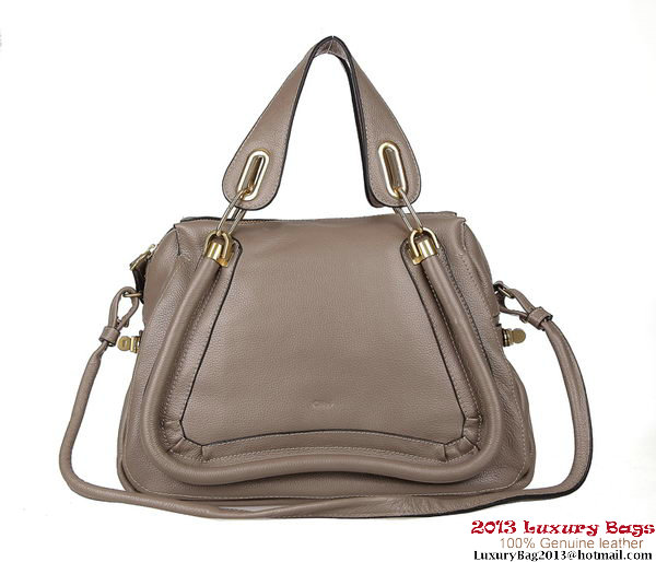 Chloe Paraty Medium Shoulder Bags Calf Leather 166322 Grey