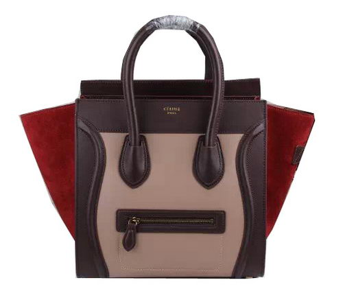 Celine Luggage Mini Bags Suede Leather Ci3308 DarkPink&burgundy&Wine