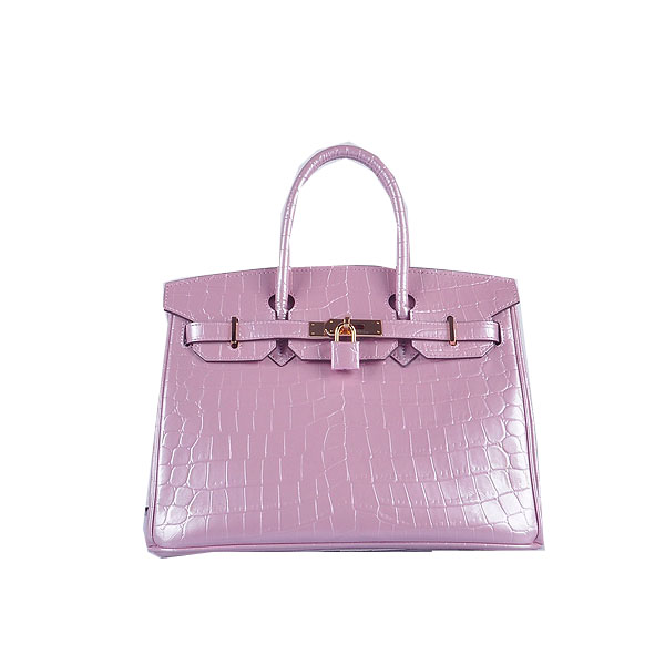 Hermes Birkin 30CM Tote Bags Lavender Iridescent Croco Leather Gold