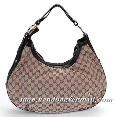 Gucci Interlocking GG Fabric Medium Hobo Bag 223952 Coffee
