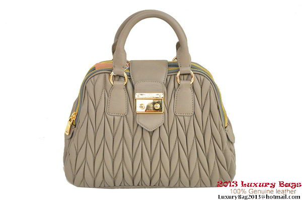 miu miu RL0072 Matelasse Shiny Leather Top Handle Bag Grey