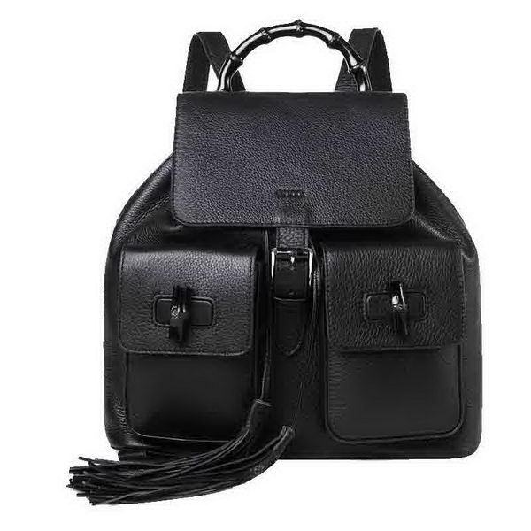 Gucci Bamboo Leather Backpack 370833 Black