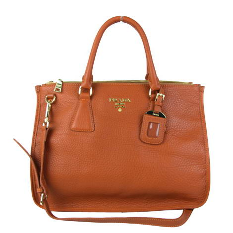 Prada Top Handle Bag Original Leather Orange