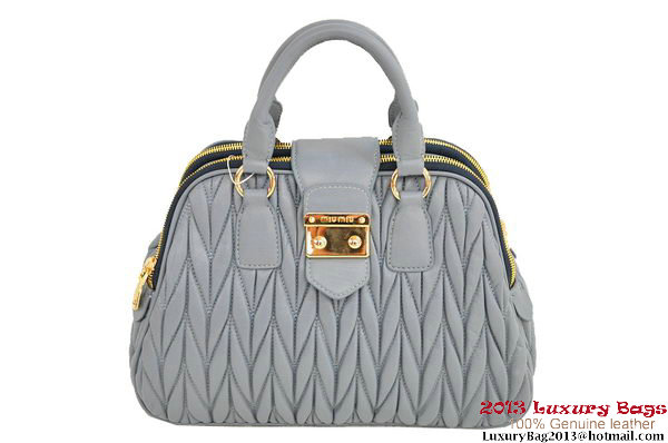 miu miu RL0072 Matelasse Shiny Leather Top Handle Bag Light Blue