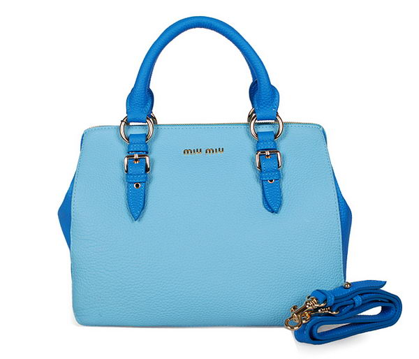 miu miu Grainy Madras Goat Leather Top Handle Bag RL0806 SkyBlue