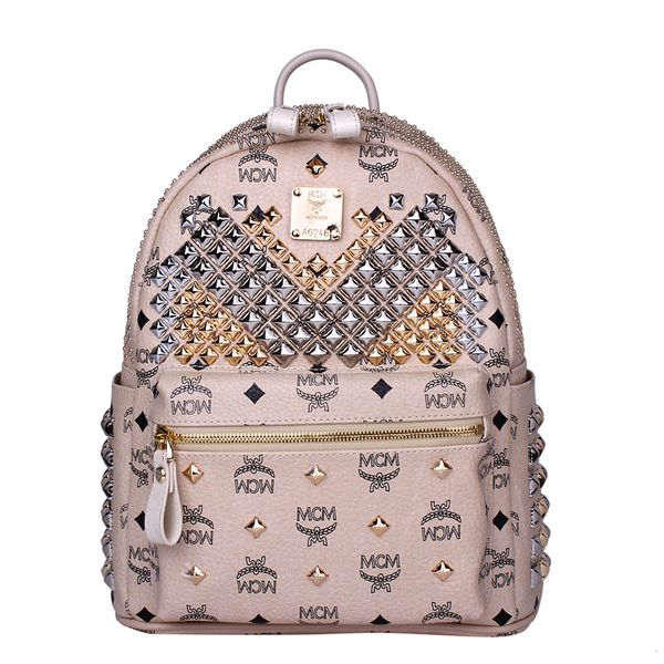 MCM Small Stark Front Studs Backpack MC4237S Beige