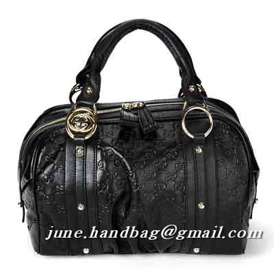 Gucci Interlocking Medium Guccissima Boston Bag 223953 Black