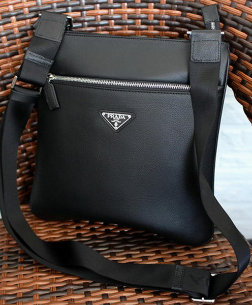 Prada Calfskin Leather Messenger Bag P6850 Black