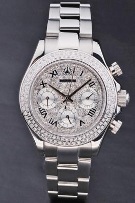Rolex Daytona Mechanism Silver Diamond 33mm Women Watch-RD3798