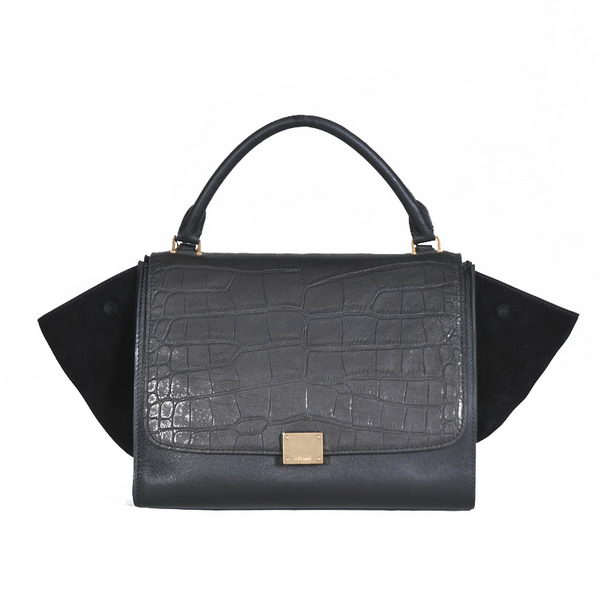 Celine Trapeze Bag Croco & Nubuck Leather C008B Black