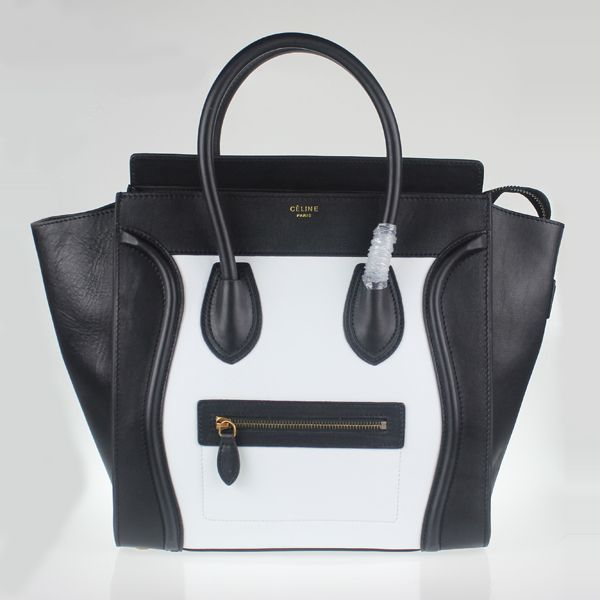 Celine Luggage Medium  in Original Leather white Black