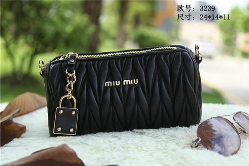 miu miu Matelasse Leather mini Bag RT3259 Black