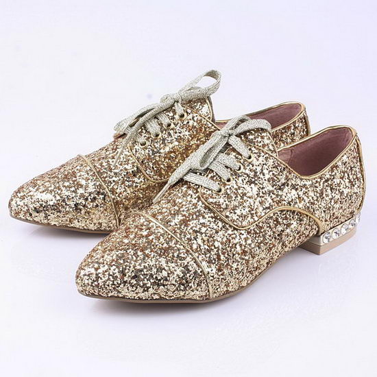 miu miu Casual Shoes Sequins Leather M308 Gold