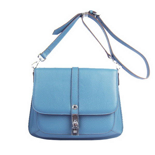 Hermes Lock Shoulder Bag Calfskin Blue