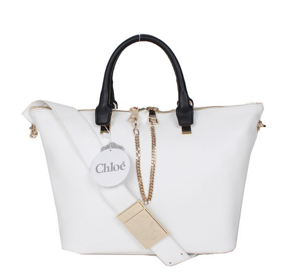 Chloe Baylee C0168 White&Black Small Leather Tote Bag