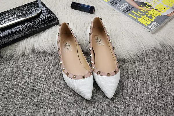 Valentino Point-Toe Flat Lizard Leather VT462 White