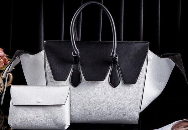 Celine Tie Nano Top Handle Bags Original Leather C3052 White&Black