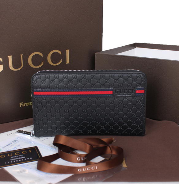 Gucci Guccissima Leather Zip Around Wallet 60045 Black
