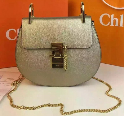 CHLOE Drew Shoulder Bags Calfskin Leather CO2709 Gold&Orange