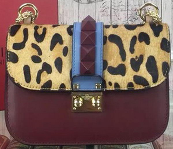 Valentino Garavani Leopard Shoulder Bags Original Leather VO1915 Burgundy
