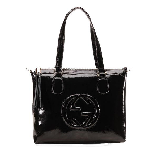 Gucci Soho Top Handle Bag Patent Leather 308362 Black