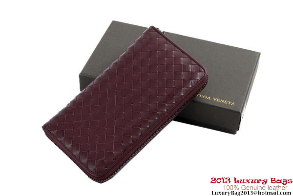 Bottega Veneta Intrecciato Nappa Zippy Wallet BV1571 Wine