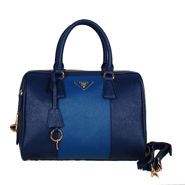 PRADA Saffiano Leather Two Handle Bag BN0823 RoyalBlue&Blue