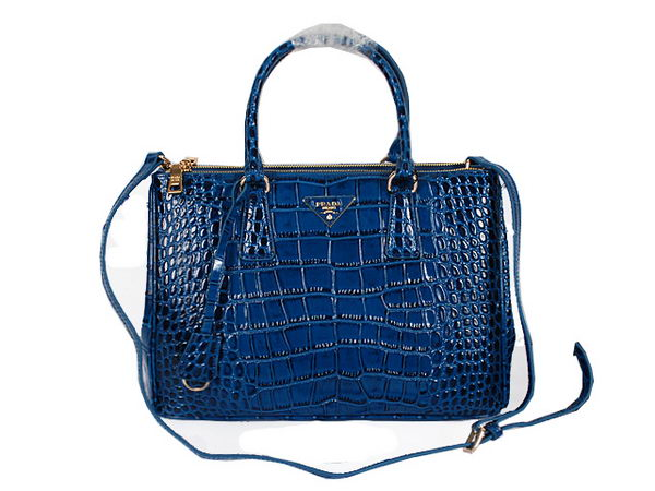 Prada Croco Leather Tote Bag BN2964A Blue