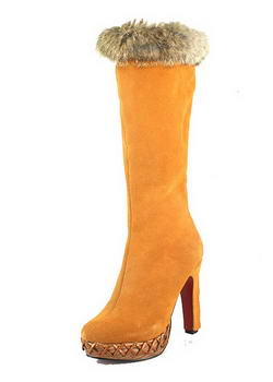 Christian Louboutin Suede Step N Roll Fur Boots Brown