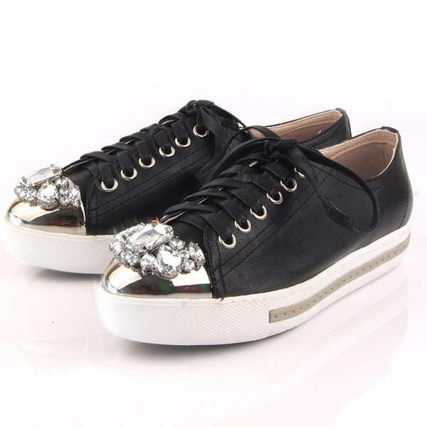 miu miu Casual Shoes Sheepskin Leather M305 Black