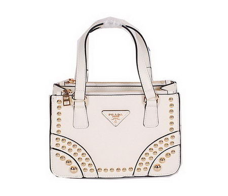 Prada Saffiano Leather Tote with Metal Studs B1142B OffWhite