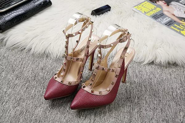 Valentino Lizard Leather Pump VT478 Burgundy