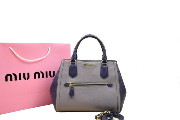 miu miu Goat Skin Leather Top Handle Bag RN0065 Grey&Purple