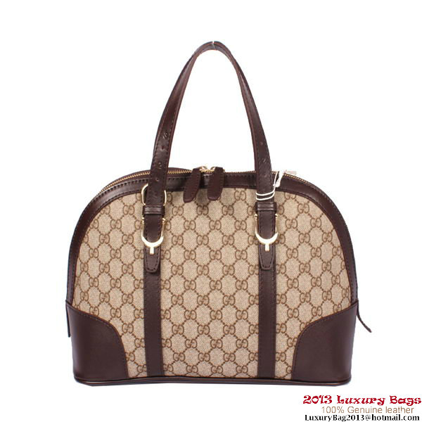 Gucci GG Supreme Canvas Nice Small Top Handle Bag 309617 Brown