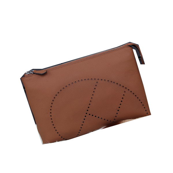 Hermes Grainy Leather Clutch H8015 Wheat