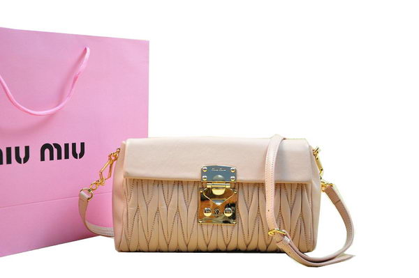 miu miu Matelasse Lambskin Leather Shoulder Flap Bag RT0555 Light Pink