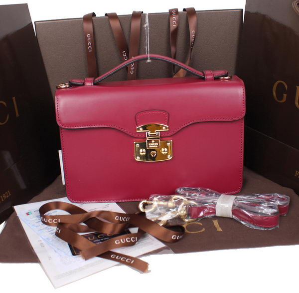 Gucci Lady Lock Calf Leather Briefcase Clutch 331823 Rose