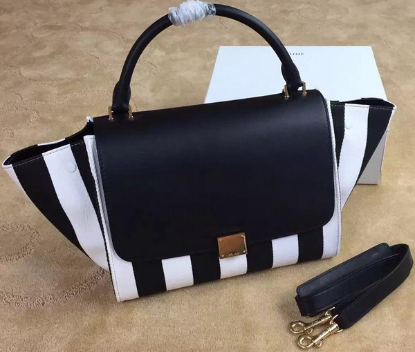 Celine Trapeze Tote Bag Fabric CTA6608 Black&White