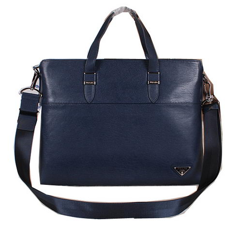 PRADA Smooth Leather Business Briefcase 250011 Royal
