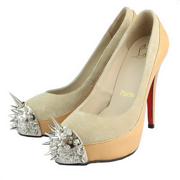 Christian Louboutin David Delfin 130mm Apricot Patent Leather Silver Spikes Toe Pumps