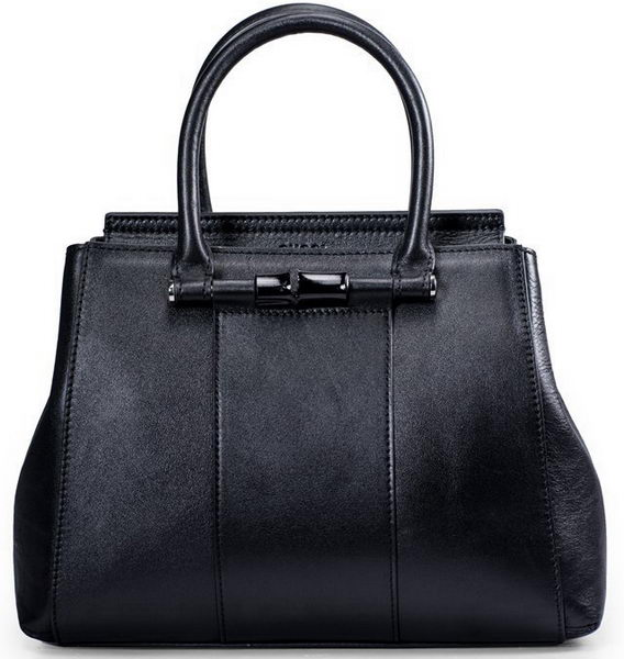 Gucci Lady Bamboo Leather Top Handle Bag 370816 Black