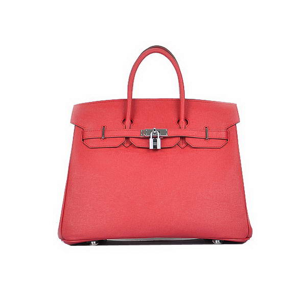 Hermes Birkin 35CM Red Saffiano Leather Tote Bag Silver