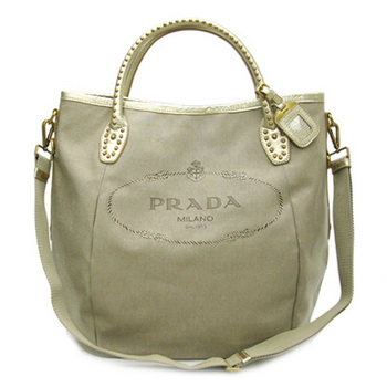Prada Canvas with Gold Leather Trim Tote Bag BR4426 Apricot
