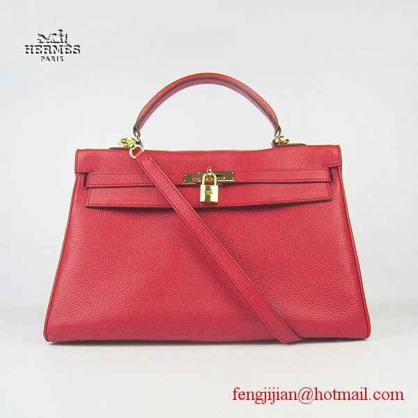 Hermes Kelly 35cm Togo Leather Bag Red 6308 Gold Hardware