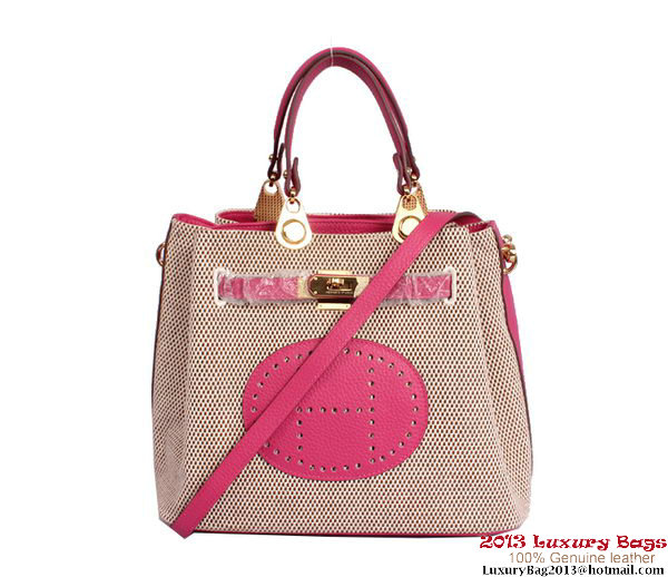Hermes Mini So Kelly 30CM Bag Rosy Canvas H8029 Gold