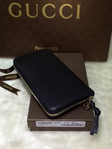 Gucci Bree Leather Zip Around Wallet 323397 Black
