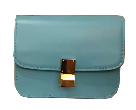 Celine Classic Box Small Flap Bag Smooth Leather C3347 SkyBlue
